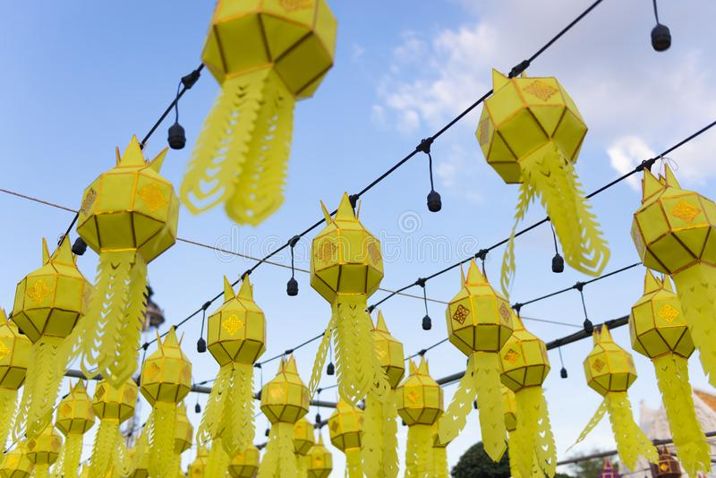 Thai northern Yipeng Lantern Festival decoration inside the old temple during New Year celebration. Beautiful background royalty free stock images