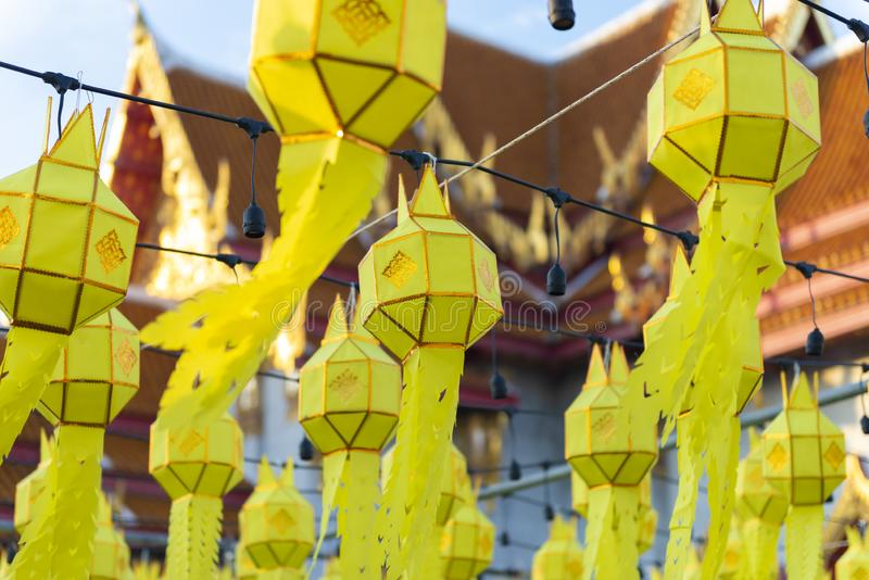 Thai northern Yipeng Lantern Festival decoration inside the old temple during New Year celebration. Beautiful background royalty free stock photo
