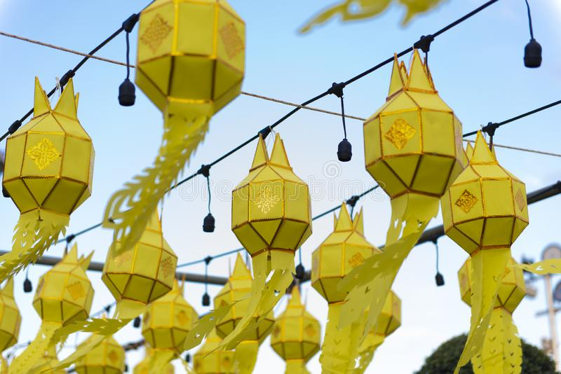 Thai northern Yipeng Lantern Festival decoration inside the old temple during New Year celebration. Beautiful background stock photo