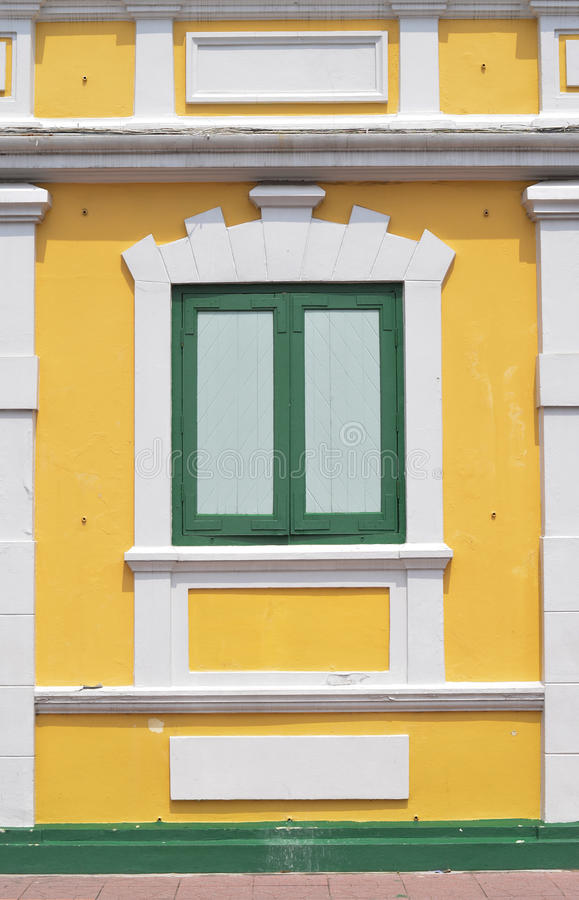 Download Thai Old Style Classic Window In Yellow And Green Stock Image - Image of beauty, building: 27484435