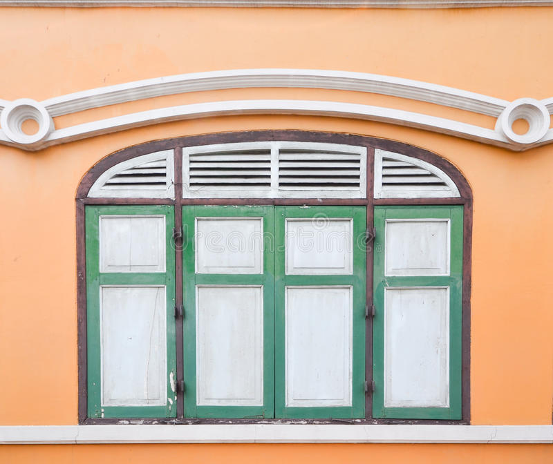 Download Thai Old Style Classic Window In Yellow And Green Stock Photo - Image of background, balcony: 27484478