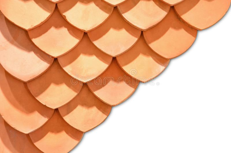 Thai old style rooftop pattern design, layer of red clay tiles roof texture isolated on white background royalty free stock images