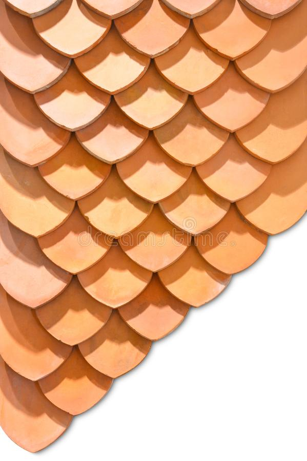 Thai old style rooftop pattern design, layer of red clay tiles roof texture isolated on white background stock photo