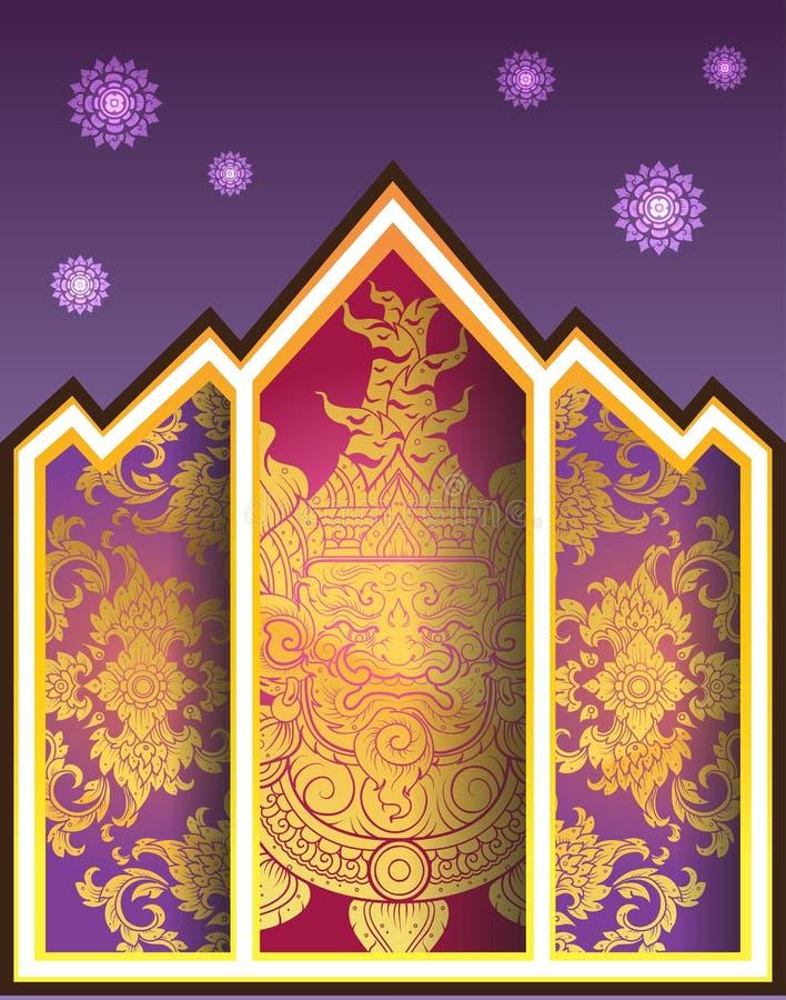 Thai outline Giant in window temple stock illustration