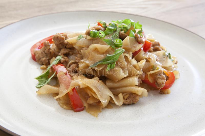 Thai Pad See Ew. Thai Stir Fried Noodles with Beef royalty free stock images