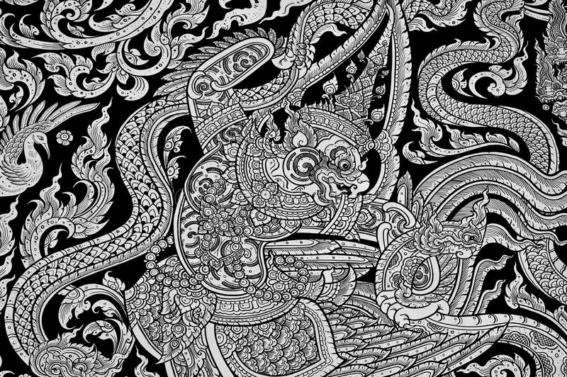 Thai painting art at the temple wall stock photos