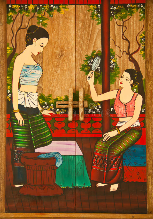 Thai painting of women. The painting is placed in the frame stock photography