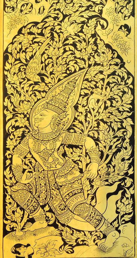Thai painting on wood gold background