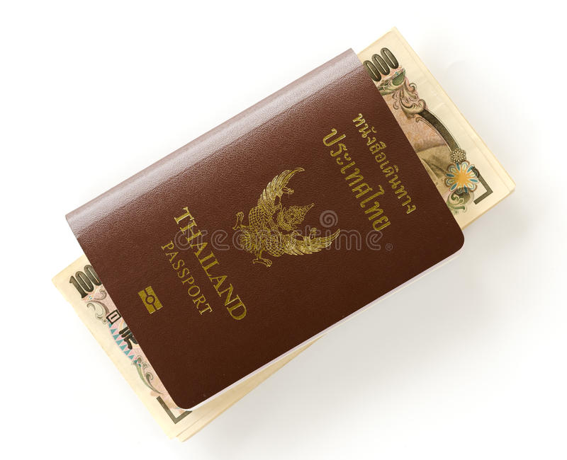 Thai passport and Japanese money royalty free stock images