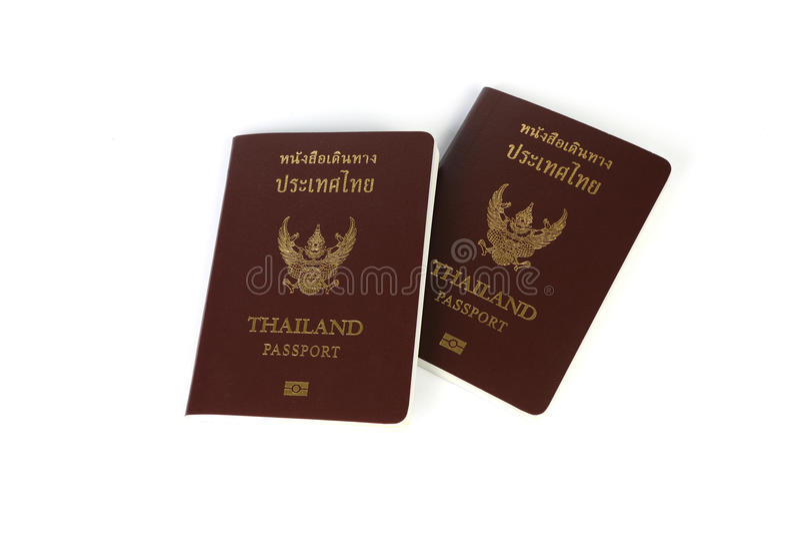 Thai passport. Thailand passport isolated an white background stock photos