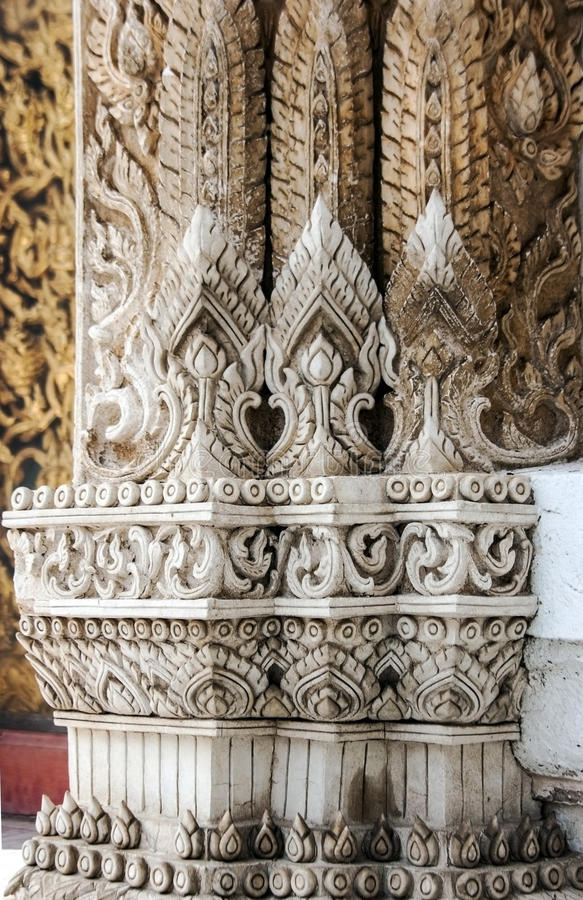 Thai pattern architecture detail in buddist temple royalty free stock photo