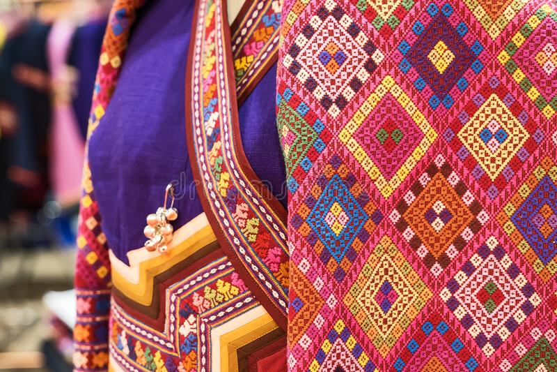 Thai pattern silk fabric stock image