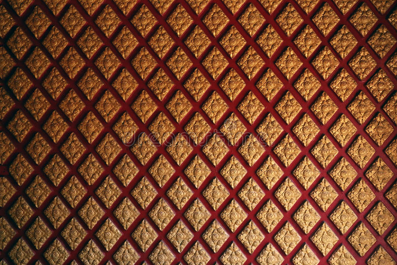 Thai pattern wall. Red and gold Thai pattern style royalty free stock photography