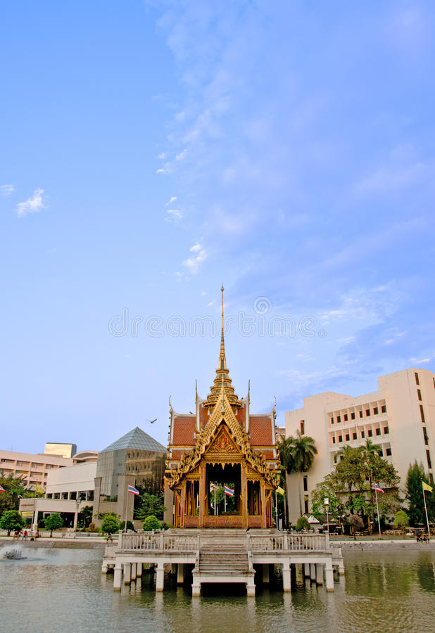Thai Pavilion On Water Stock Photo