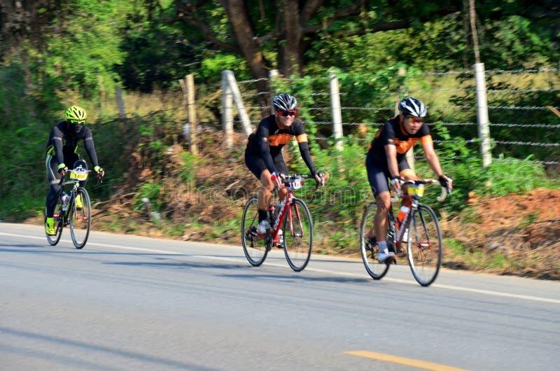 Thai people biking bicycle in race at Khao Yai. On December 13, 2015 in Nakhon Ratchasima, Thailand royalty free stock photo