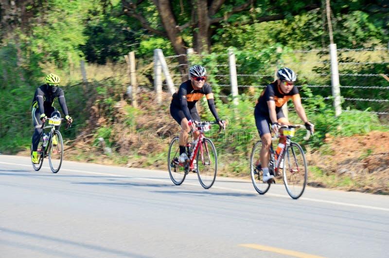 Thai people biking bicycle in race at Khao Yai. On December 13, 2015 in Nakhon Ratchasima, Thailand royalty free stock image