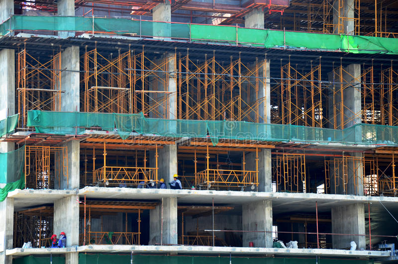 Thai people build and work on Building Business Construction Sit. E at Bangkok Thailand stock photo