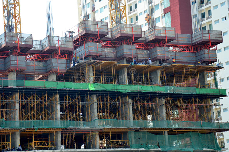 Thai people build and work on Building Business Construction Sit. E at Bangkok Thailand stock photography