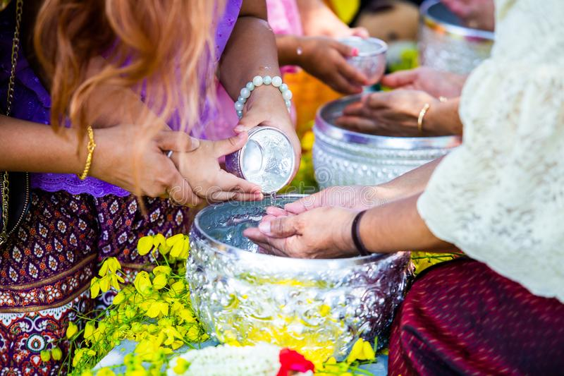 Thai people celebrate Songkran in new year water festival royalty free stock image