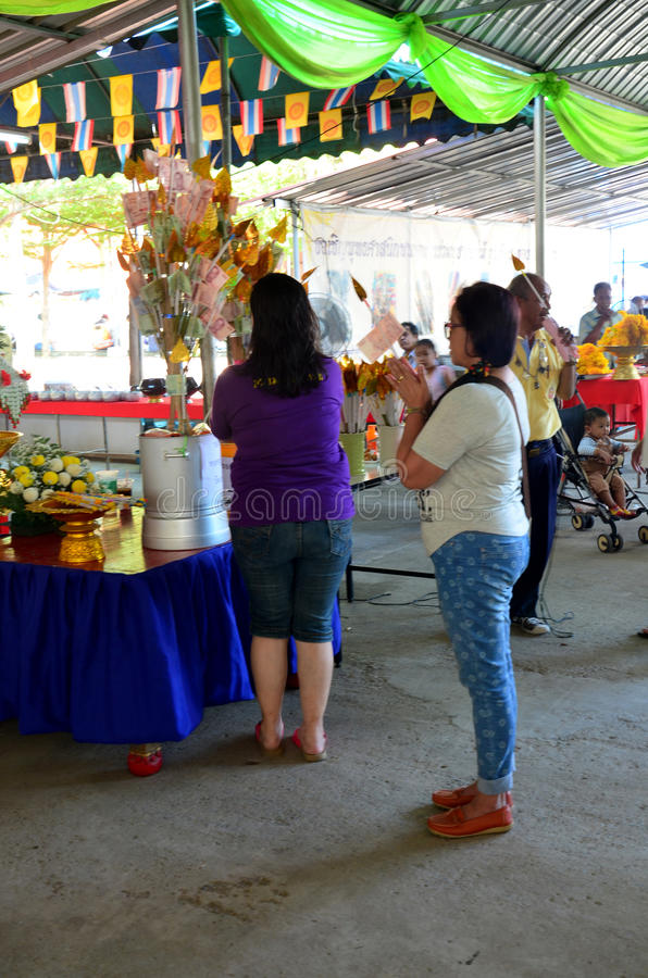 Thai people donate money in Kathin Ceremony. Thai people cooking give food for free to people in Kathin Ceremony at temple on November 21, 2015 in Nonthaburi royalty free stock image