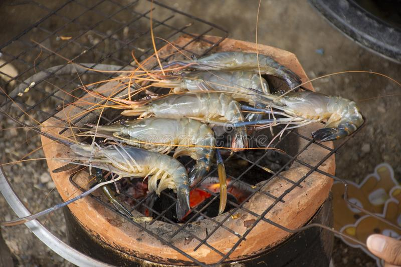 Thai people cooking grill shrimp or prawn on stove. Retro thai style at outdoor in Nonthaburi, Thailand stock photography