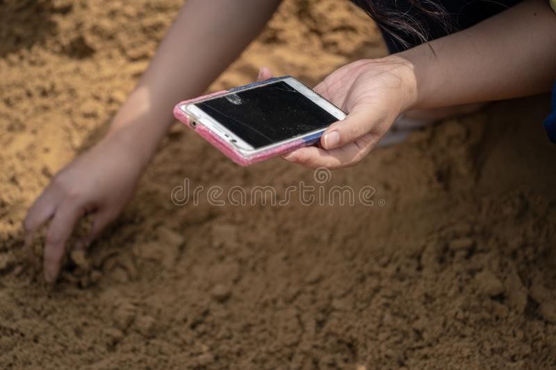 Thai people and farmers search for rice seeds at The Royal Ploughing Ceremony Day. In order to be a blessing in rice farming royalty free stock photography