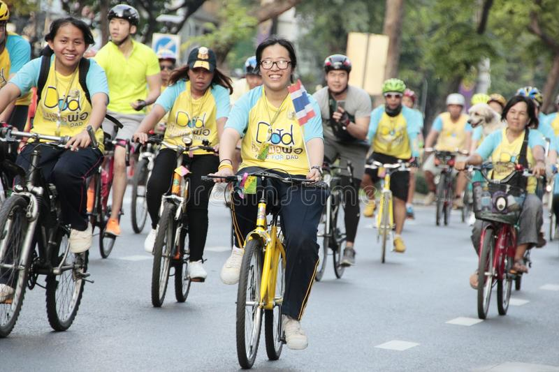 Thai people and foreign ride bicycle in Bike for dad activity for honor thai king. SILOM, BANGKOK- DECEMBER 11,2015 : Thai people and foreign ride bicycle in royalty free stock image