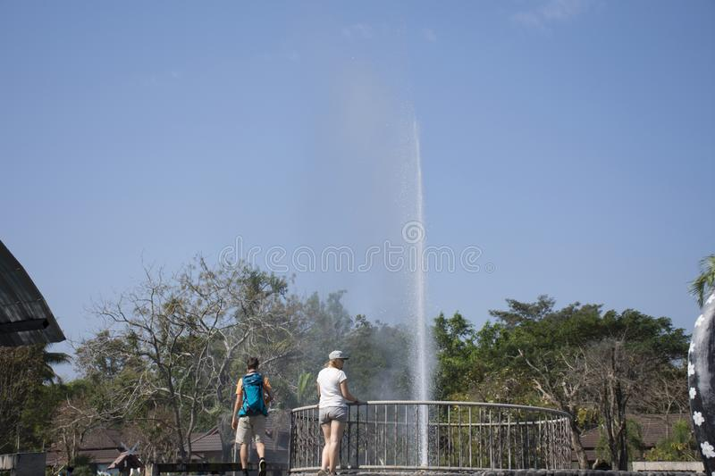 Thai people and foriegner travelers travel and visit Pa Tueng Hot Spring at Mae Chan in Chiang Rai, Thailand. Thai people and foriegner travelers travel and royalty free stock images