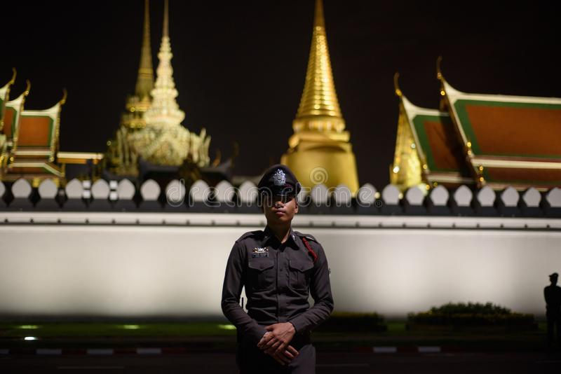 Thai people grieve over the demise of King Rama9. BANGKOK,THAILAND-DEC5,2016:The death of Thai beloved king rama9 on 13 October,2016 makes the people being in royalty free stock image