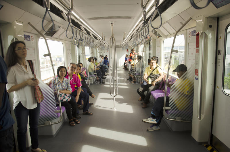 Thai people journey by MRT Purple Line go to Bangkok. Thai people journey by Mass Rapid Transit Authority of Thailand (MRTA) or MRT Purple Line go to Bangkok on stock photography