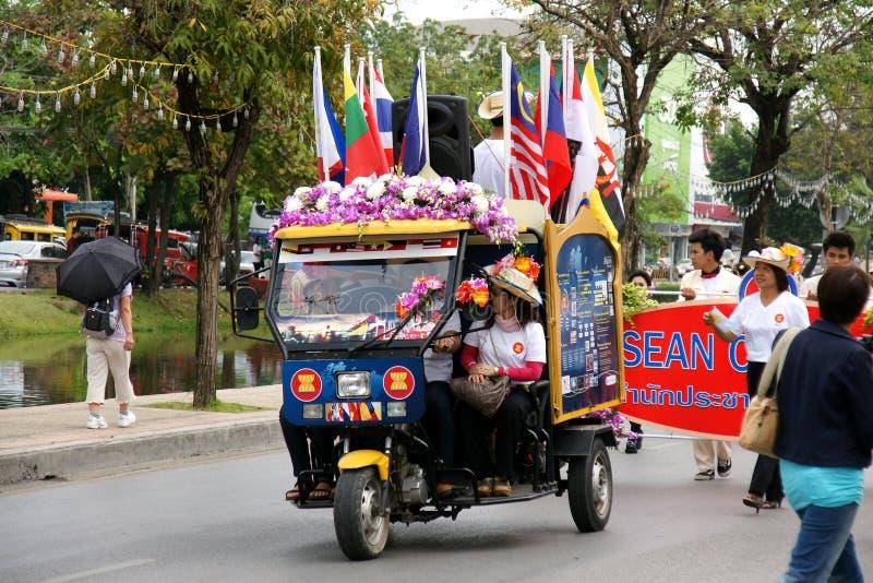 Thai people on the parade in Chiangmai Flower Festival 2013. CHIANGMAI, THAILAND - FEBRUARY 2-2013 : Unidentified Thai people on the parade in ChiangMai Flower stock photos