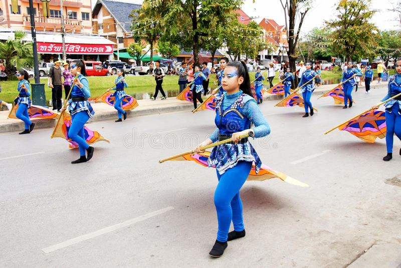Thai people on the parade in ChiangMai Flower Festival 2013. CHIANGMAI, THAILAND - FEBRUARY 2-2013 : Unidentified Thai people on the parade in ChiangMai Flower stock photo