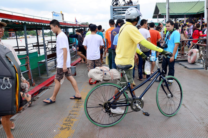 Thai people passenger ferry boat crossover Chaopraya river. At Thanumnon port on November 8, 2015 in Nonthaburi, Thailand royalty free stock photos
