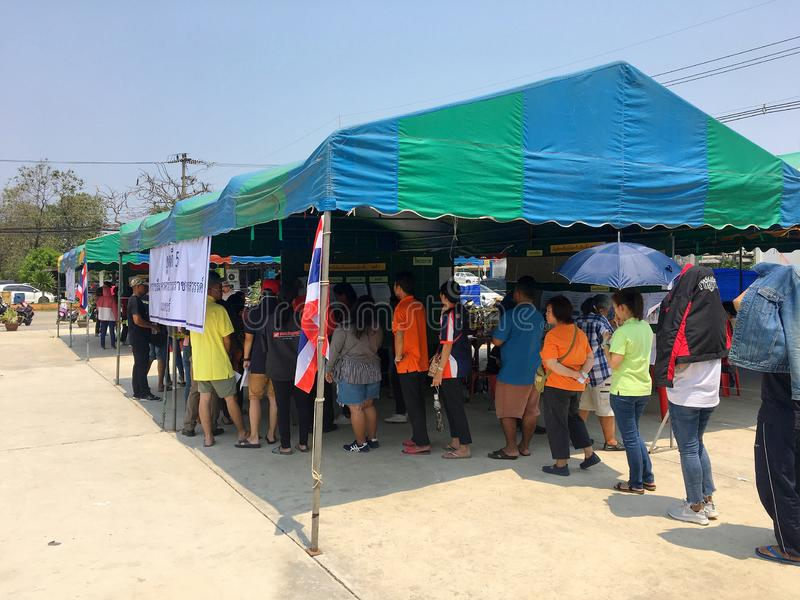 Thai people queue to elect the new government after 6 years long coup on pre-election day on March 17, 2019 Prachuabkirikhan, stock image