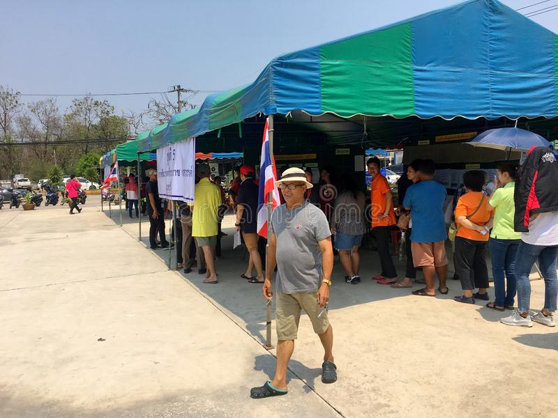 Thai people queue to elect the new government after 6 years long coup on pre-election day on March 17, 2019 Prachuabkirikhan,. The Thai people queue to elect the royalty free stock photo