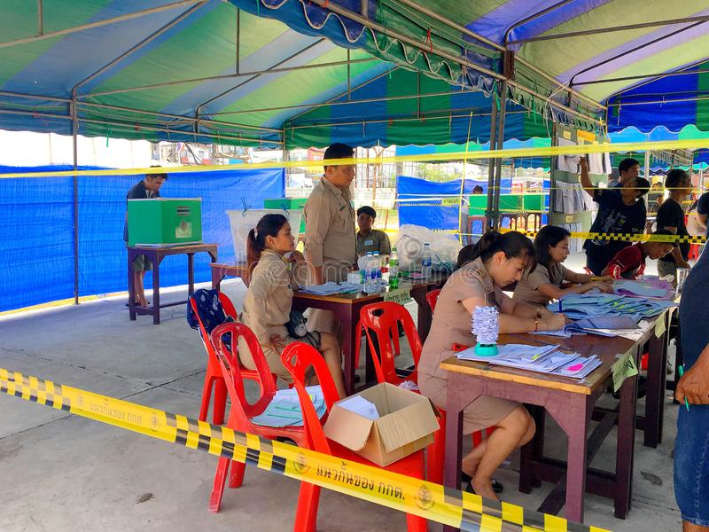 Thai people queue to elect the new government after 6 years long coup on pre-election day on March 17, 2019 Prachuabkirikhan,. The Thai people queue to elect the stock photo
