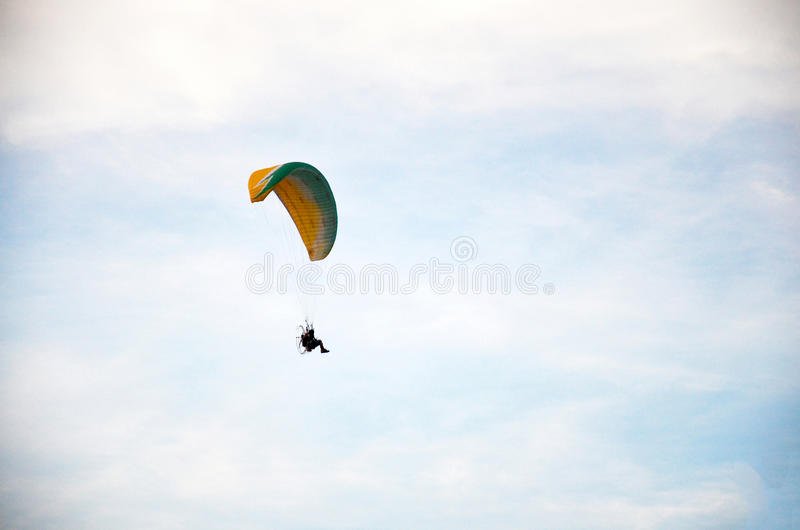 Thai people riding paramotor flying around phu thai world day fe. Stival at Ban Non Hom on January 16, 2016 in Sakon Nakhon, Thailand stock photography