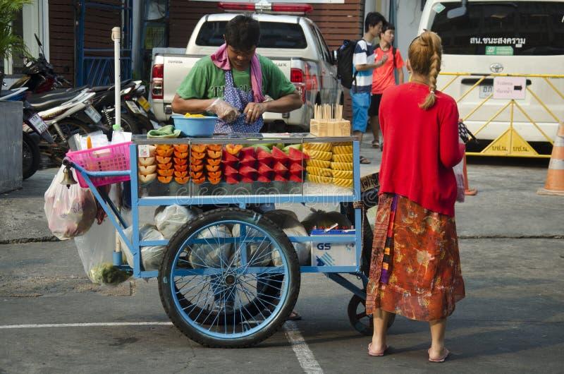 Thai people sale fruits at Khaosan Road. On March 19, 2016 in Bangkok, Thailand royalty free stock photo