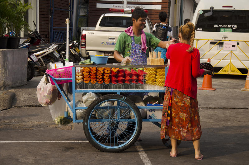 Thai people sale fruits at Khaosan Road. On March 19, 2016 in Bangkok, Thailand royalty free stock photography