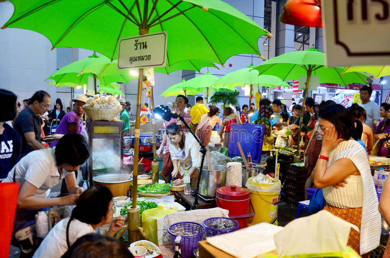 Thai people sell and buy food in temple carnival retro. At IMPACT Muang Thong Thani on October 16, 2015 in Nonthaburi, Thailand royalty free stock photos