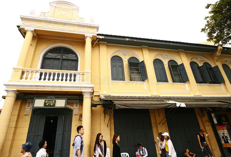 Thai people and tourists walking in the old building. BANGKOK-THAILAND: November 6, 2017 Thai people and tourists walking in the old building at Sanam Luang stock image