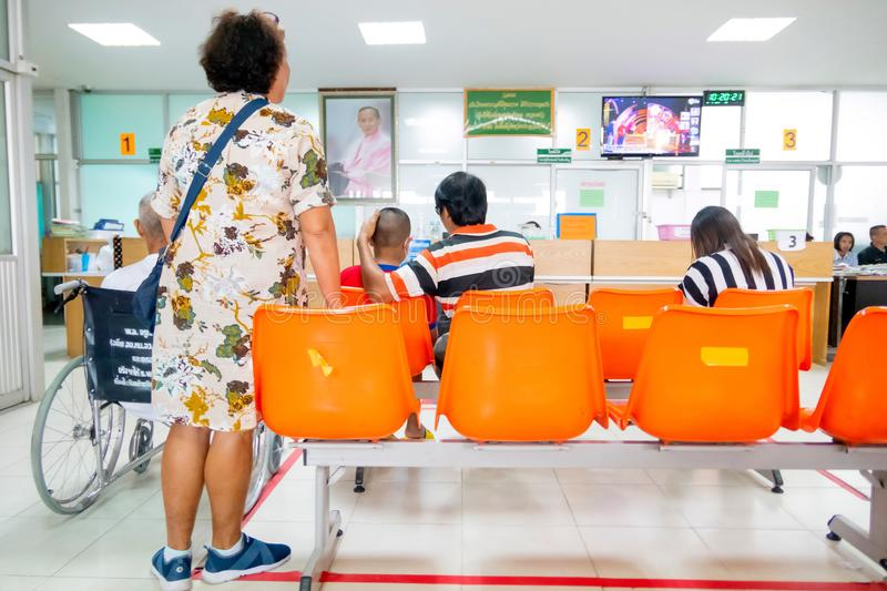 Thai people are waiting to see the doctors in the Thanarat fort hospital which is state hospital at Prachuabkirikhan, Thailand stock image