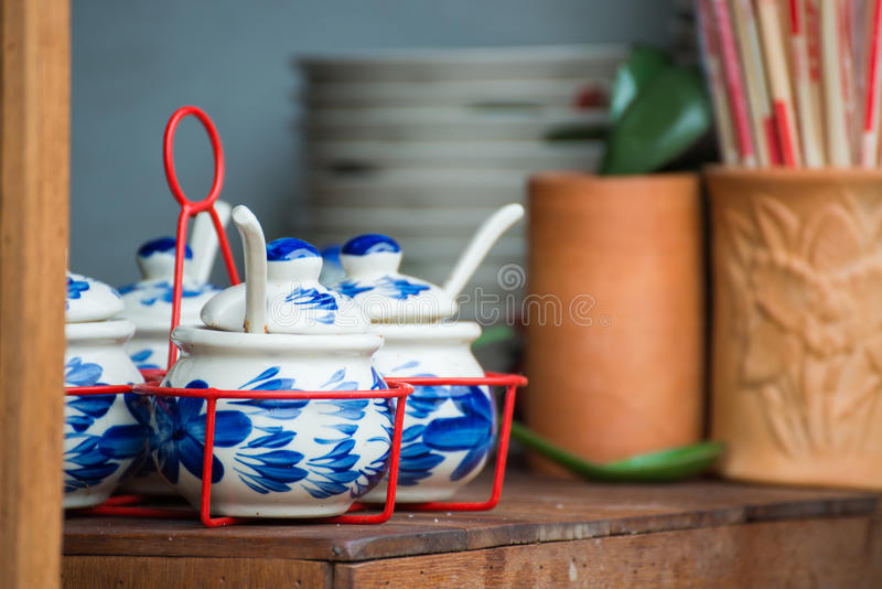 Thai porcelain cup for flovoring in restaurant. Shop stock photography
