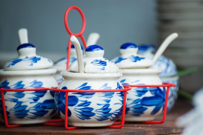 Thai porcelain cup for flovoring in restaurant. Shop stock photos