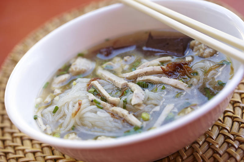 Thai pork noodle and sweet soup. In thailand royalty free stock images