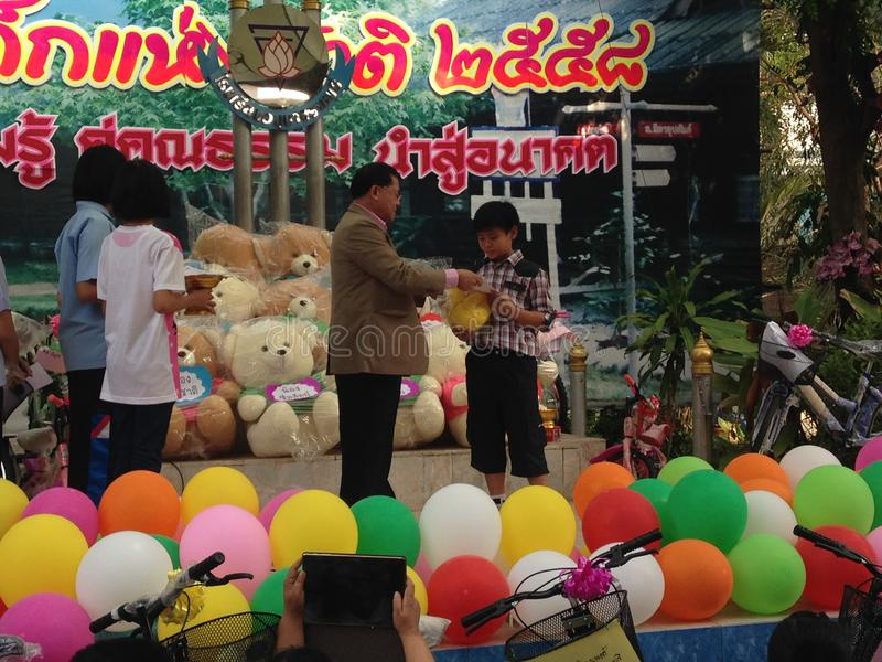 Thai primary school students on children`s day royalty free stock images