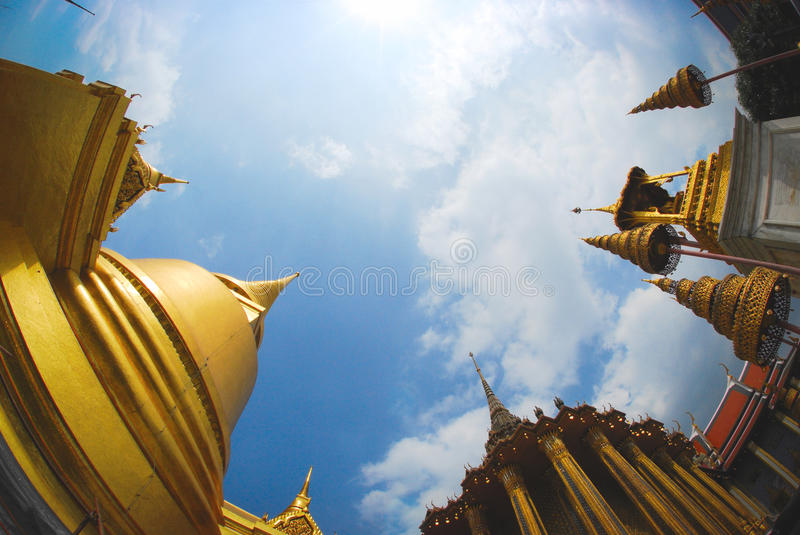 Thai pubic temple fisheye blue sky royalty free stock photo