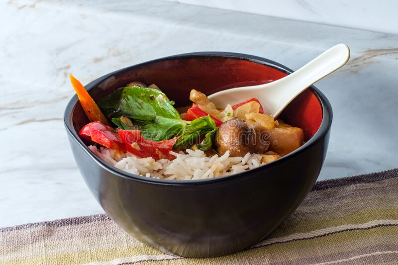 Thai Red Chicken Curry. Thai food spicy coconut milk red curry soup with chicken and rice royalty free stock image
