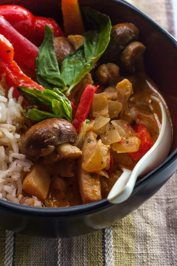 Thai Red Chicken Curry. Thai food spicy coconut milk red curry soup with chicken and rice royalty free stock images