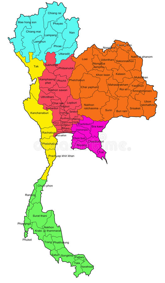 Thai 6 regions map. Thailand 6 regions color map white background royalty free illustration